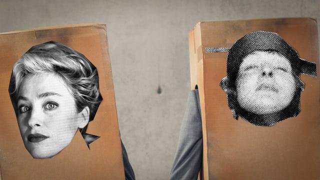 Zwei Frauenköpfe, aufgeklebt auf Kartonkisten, aus denen grau gekleidete Arme gucken.