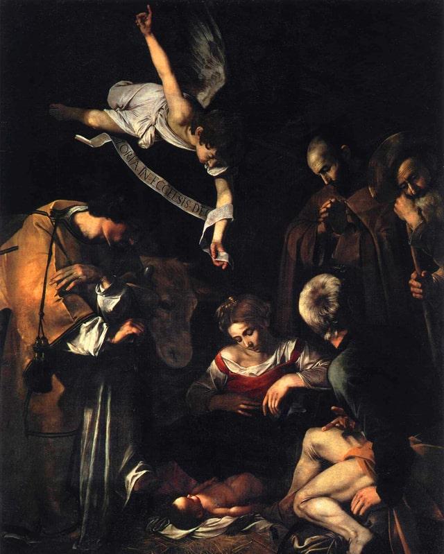 Gemälde mit Maria, Jesus als Baby sowie diversen Figuren inklusive ein Engel, die um Mutter und Kind stehen.