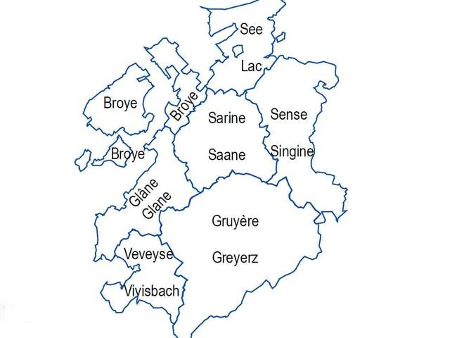 Karte der Freiburger Bezirke