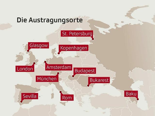 In St. Petersburg, Glasgow, Kopenhagen, London, Amsterdam, München, Budapest, Bukarest, Sevilla, Rom und Baku werden die Fussballspiele ausgetragen.