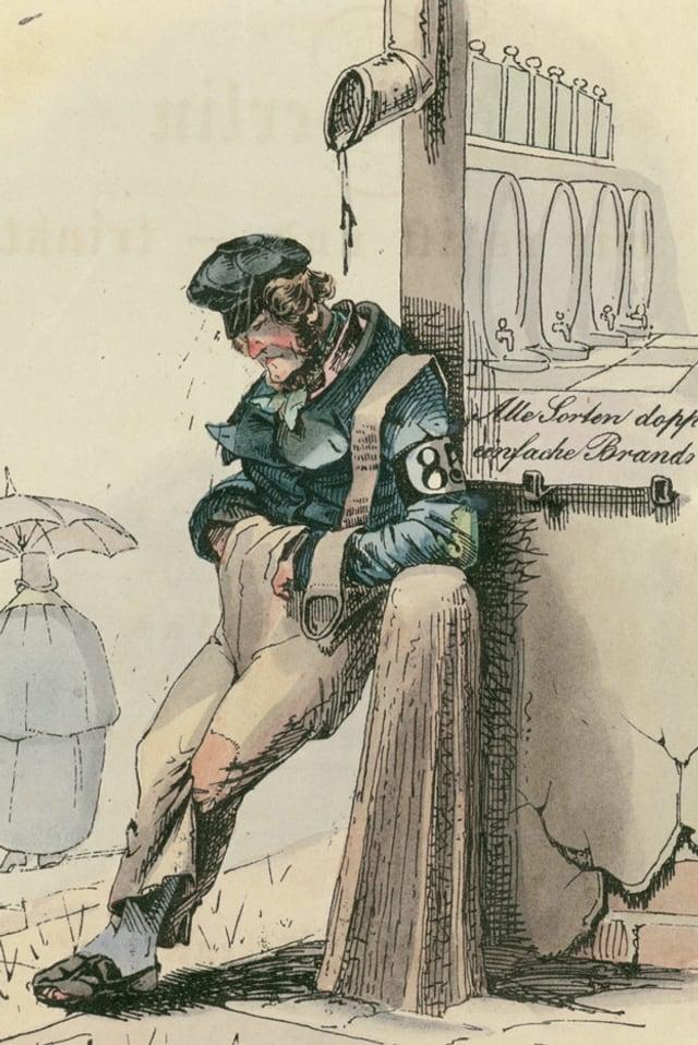 Eine Illustration zeigt einen Mann, der an eine Ecke gelehnt wartet.
