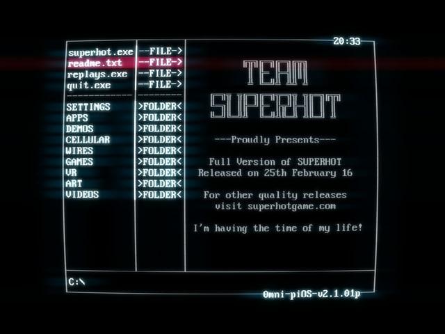Team Superhot präsentiert das Game - auf der Oberfläche namens piOS.