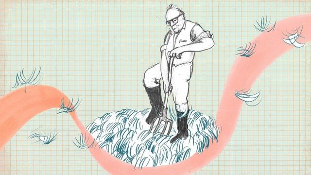 Zeichnung: Dürrenmatt in Gummistiefel mit einer Mistgabel auf einem Misthaufen