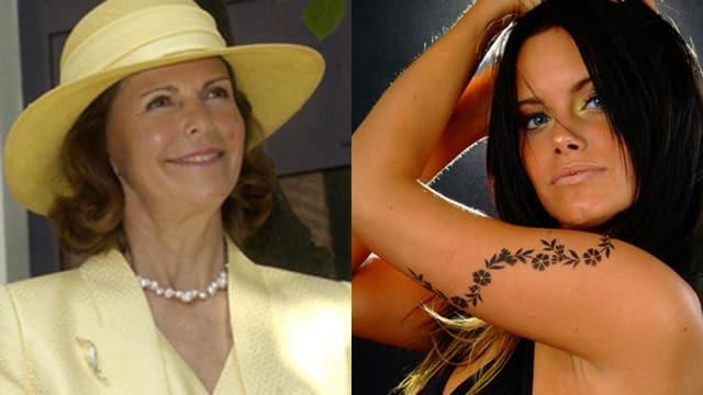 Fotomontage mit Königin Silvia von Schweden links und Ex-Model Sofia Hellqvist rechts.