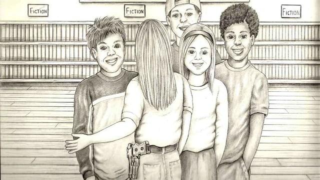 Eine Gruppe von Kindern, eines trägt eine Waffe.