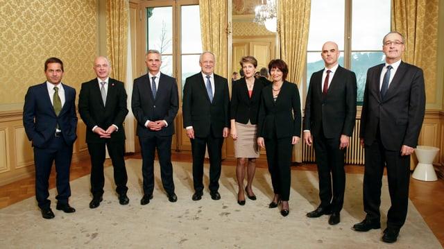 Sieben Bundesräte und der Bundeskanzler im Porträt.