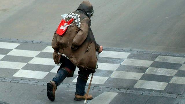 Ein Obdachloser auf der Strasse