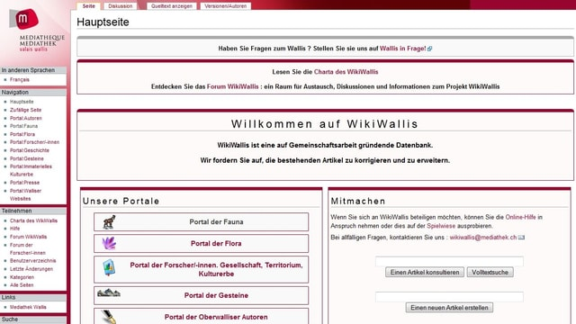 Ansicht des Online-Auftritts von Wikiwallis.
