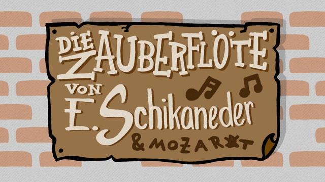 Illustration: Ein Plakat auf einer kündigt die Zauberflöte an, Mozarts Name ist nur klein darauf zu lesen.