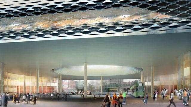 Visualisierung der City Lounge mit grosser Öffnung in der Mitte und Tram