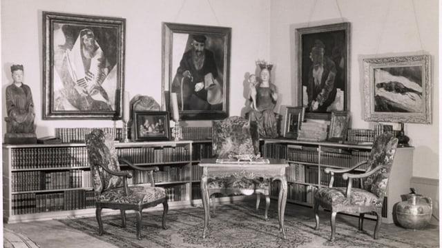 Salon von Karl im Obersteg im Gellert in Basel mit weltberühmten Meisterwerken an den Wänden.