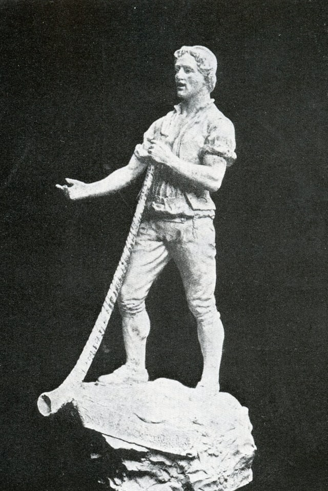 """Il tibader"" - Statuetta en bronz da Hants, Gent"