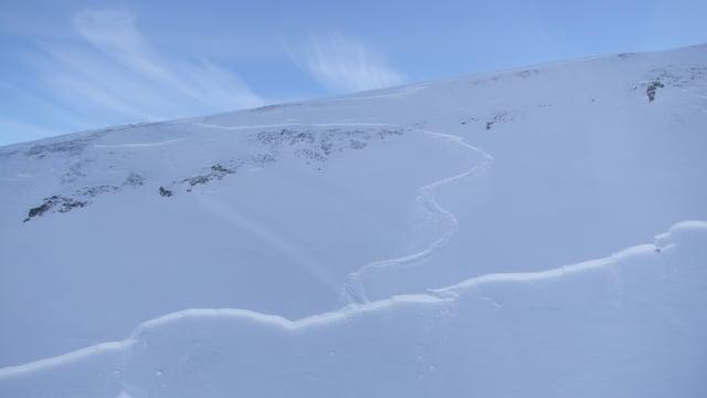 La lavina ch'è ida a val al Piz Munschuns.
