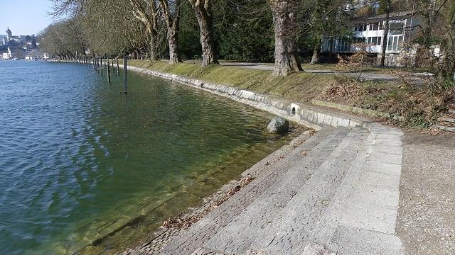 Rheinufer an der Lindli-Promenade in Schaffhausen
