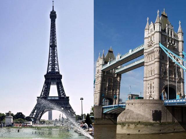 Links der Eiffelturm hinter einem Wasserbecken. Rechts die Tower Bridge mit ihren zwei grossen Türmen, die sich über einen Fluss erheben.