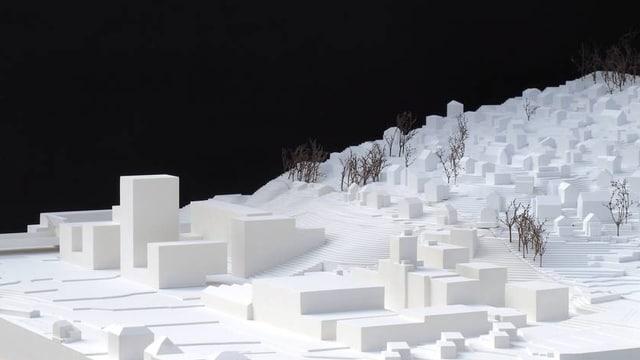 Modell der redimensionierten Überbauung auf dem Areal Eichhof West.