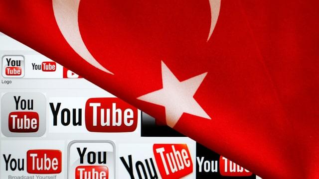 Wie ein Vorhang verhüllt die türkische Flagge die Videoplattform Youtube.