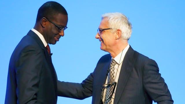 CS-Chef Thiam (links) im Bild mit Verwaltungsratspräsident Urs Rohner