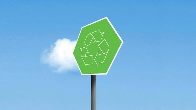 Ein blauer Himmel mit grünem Recycling-Schild im Vordergrund.