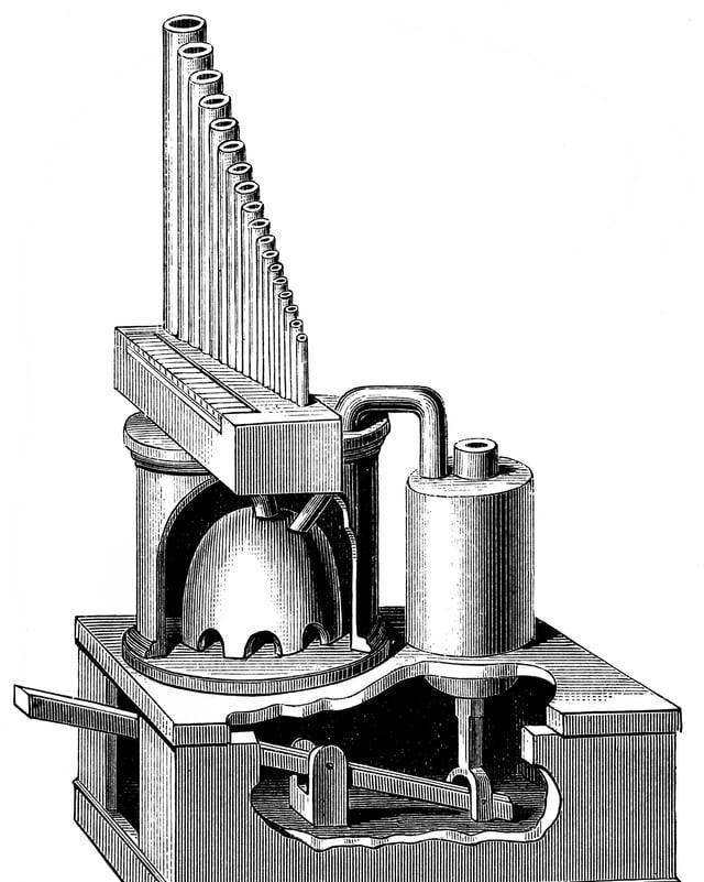 Historische Zeichnung eines Hydraulis