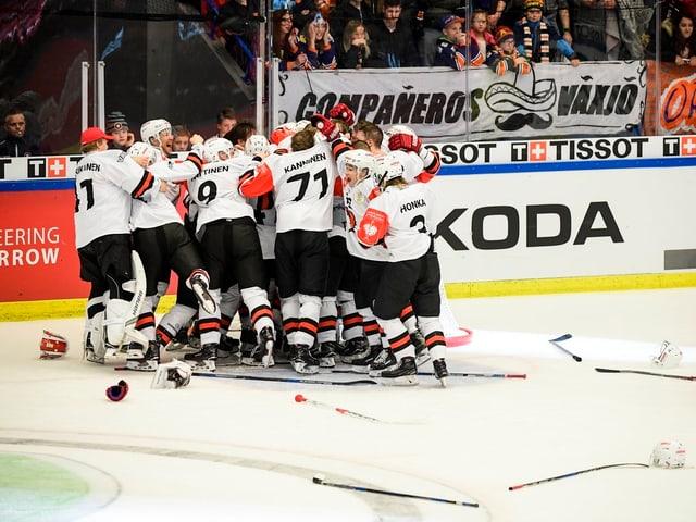 Eishockeyspieler jubeln.