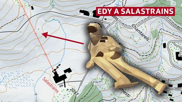 carta geografica da Salastrains e la sculptura Edy