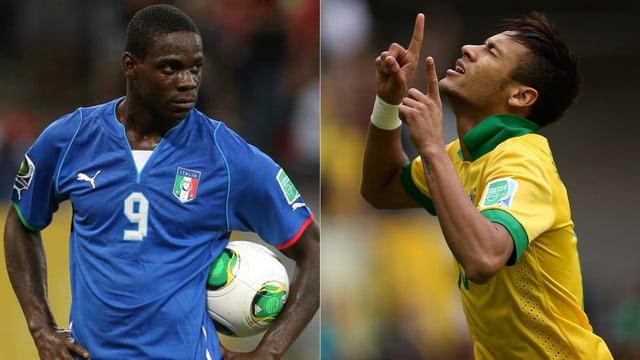 Italien-Stürmer Mario Balotelli und Brasiliens Superstar Neymar.