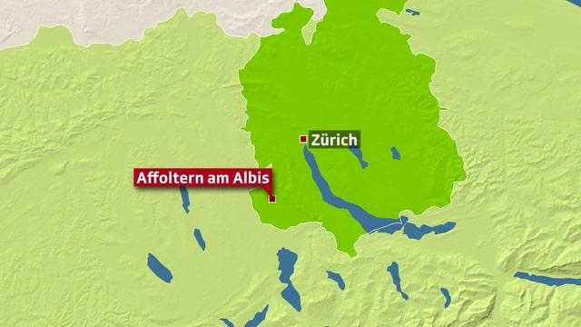 Karte vom Kanton Zürich mit Verortung von affoltern am Albis.