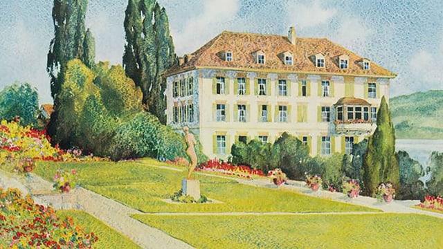 Ein Gemälde eines schönen Herrenhauses am See mit Garten.