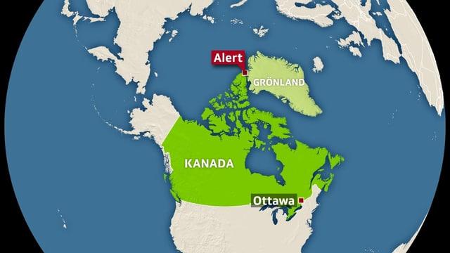 Karte Kanadas mit Verortung von der Ortschaft Alert.