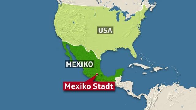 Karte von USA und Mexiko.