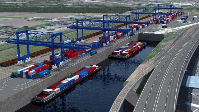Computerbild mit einem neuen Rheinhafen und einer Umladestation Strasse/Schiene