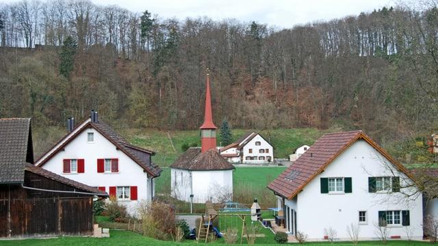 Dorfansicht von Fisibach mit Kirche