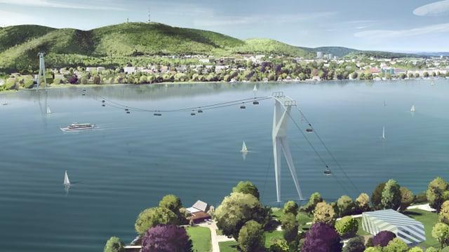 Die Visualisierung der Seilbahn über den Zürichsee.