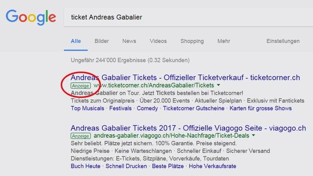 Printscreen Google-Suchergebnisse.