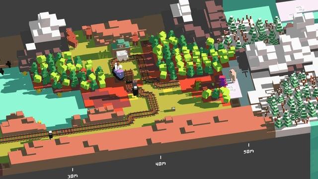 Im Bauklotz-stiel von Minecraft legt man Schienen vor den fahrenden Zug.
