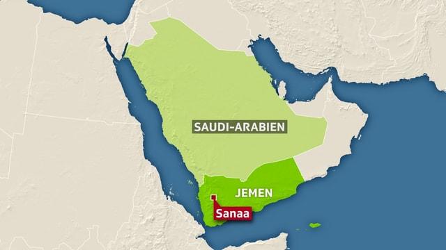 Karte mit Jemen und Saudi-Arabien.