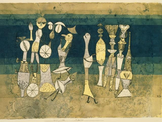 Bild von Paul Klee in Ocker und Grüntönen mit Figuren und anderen Objekten.