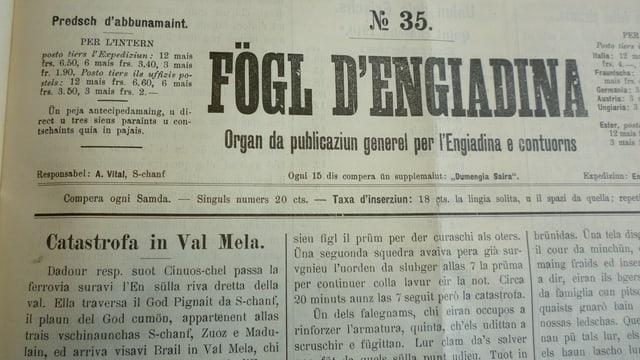 Rapport el Fegl d'Engiadina sur dal grev accident tar il viaduct Val-Mela.