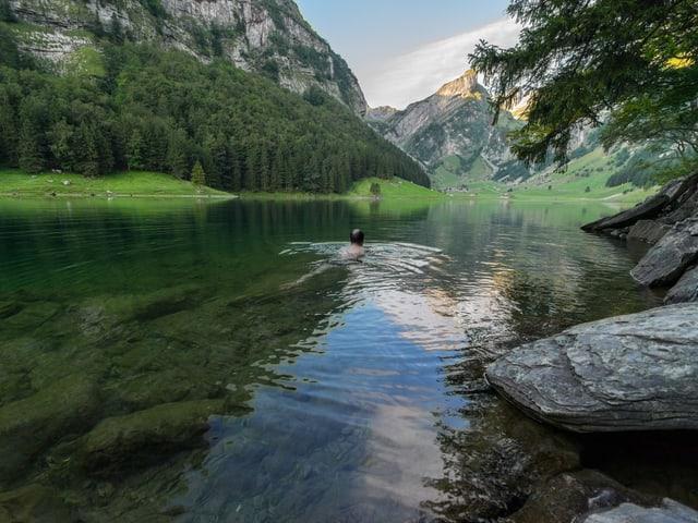 Eine Person badet in einem Alpsee.