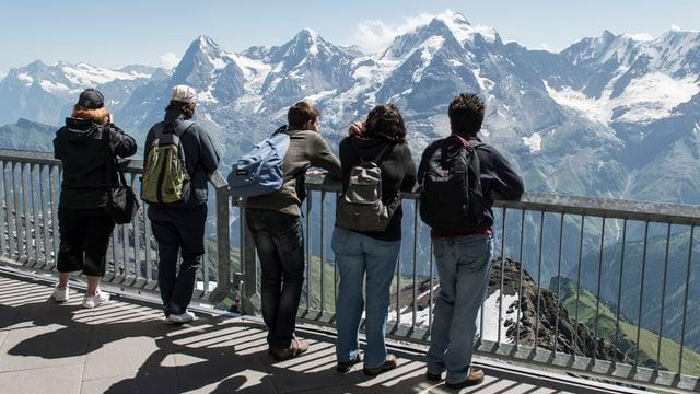 Fünf Touristen schauen auf Schweizer Berge.