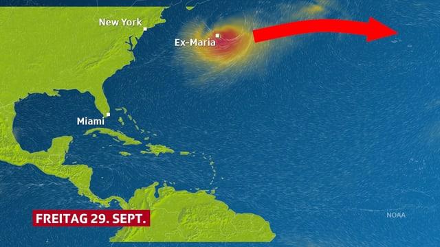 Eine Windkarte zeigt den Nordatlantik und die Zugbahn des Ex-Hurrikanes Maria nach Europa.