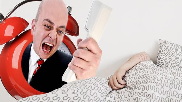 Fotomontage: Eine Frau brüllt in einen Telefonhörer, daneben ist der Arm einer schlafenden Person zu sehen, der aus der Bettdecke hervorschaut.