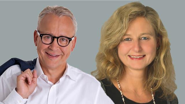 Links ist der SVP-Kandidat Werner Egli mit schwarzer Hornbrille, rechts die SP-Kandidatin Barbara Thalmann.
