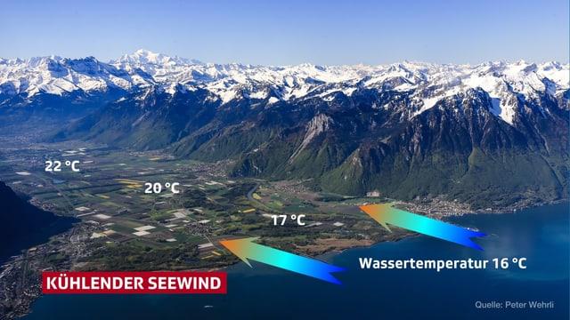 Eine Luftaufnahme aus der Region Genfersee. Mit Pfeilen wird verdeutlicht, wie der Wind vom See in Richtung Rhonetal bläst. Nahe des Ufers liegen die Temperaturen um 17 Grad, weiter das Tal aufwärts werden 22 Grad gemessen.