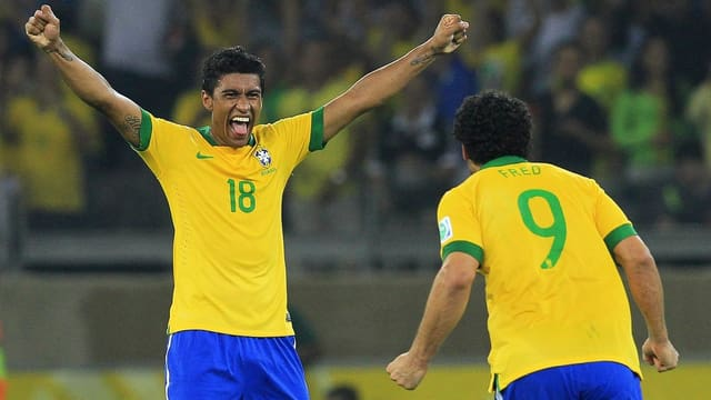 Paulinho erzielte bereits 2 Tore für Brasilien am Confederations Cup.