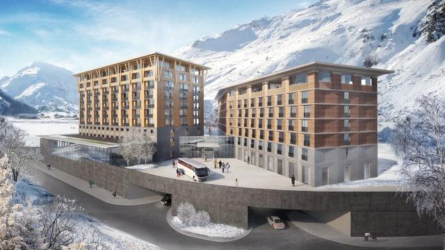 Das Hotel als Visualisierung. Der Gebäudekomplex ist aus Holz und Stein.