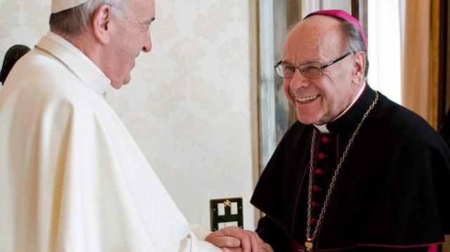 ein Bischof schüttelt dem Papst die Hand