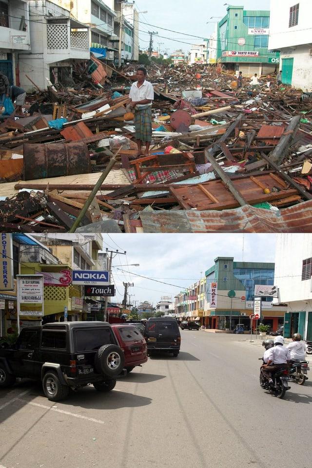Peunayong-Quartier, Banda Aceh, Indonesien am 26. Dezember 2004 und 19. Dezember 2009. (keystone)