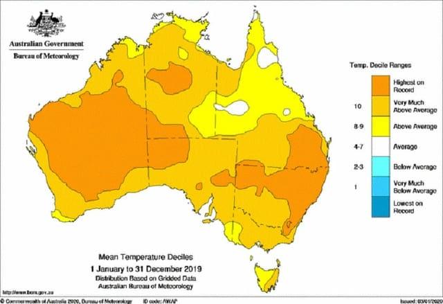 Ein Karte von Australien mit frabigen Flächen zur Temperatur.
